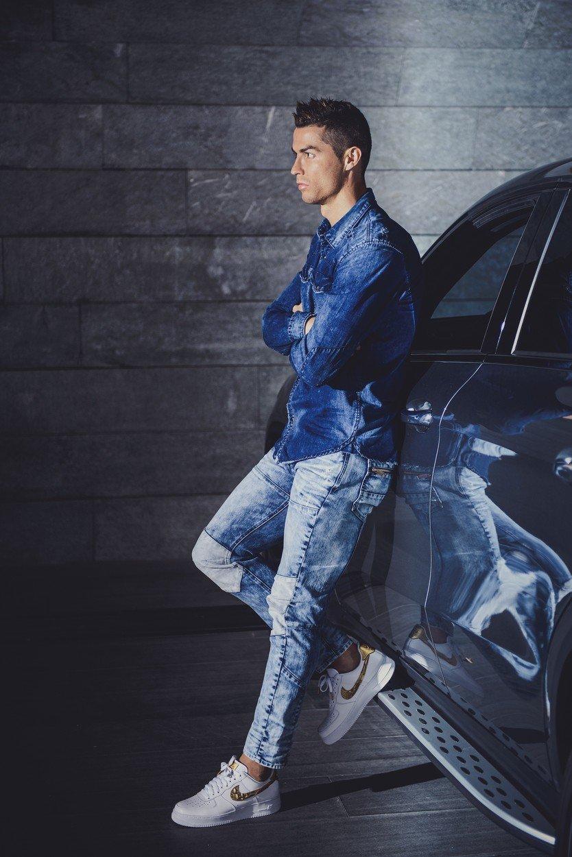 9c6c72a915 Cristiano Ronaldo and his mini-me sport double denim in new father-son CR7  campaign - Woman